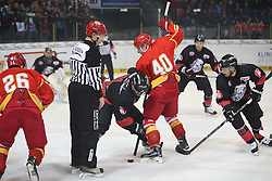 04.01.2015, Arena Nuernberger Versicherung, Nuernberg, GER, DEL, Thomas Sabo Ice Tigers Nuernberg vs Duesseldorfer EG, 35. Runde, im Bild Trikotnr.: 40 Ken Andre Olimb - Duesseldorfer EG (rotes Trikot) vs. Trikotnr.: 91 Marc El-Sayed - Ice Tigers Nuernberg (schwarzes Trikot) k??mpfen um den Puk - Trikotnr.: 20 Connor James - Ice Tigers Nuernberg (re.) kommt zur Hilfe // during Germans DEL Icehockey League 35th round match between Thomas Sabo Ice Tigers Nuernberg and Duesseldorfer EG at the Arena Nuernberger Versicherung in Nuernberg, Germany on 2015/01/04. EXPA Pictures © 2015, PhotoCredit: EXPA/ Eibner-Pressefoto/ Arth<br /> <br /> *****ATTENTION - OUT of GER*****