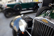Oldtimers of mainly Austrian origin on display in front of Mariahilferkirche to honour Austrian car pioneer Siegfried Marcus' 175th birthday. Marcus built the first car ever in 1870 in his nearby workshop at Mariahilferstrasse 107..Austro Daimler.
