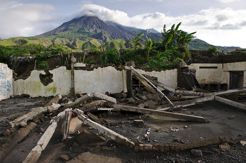The remains of a building destroyed in a pyroclastic flow, Gunung Merapi, Kinahrejo, Java, Indonesia.