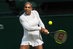 © Licensed to London News Pictures. 04/07/2018. London, UK. Serena Williams of the United States of America plays Viktoriya Tomova of Bulgaria in the women's 2nd round singles draw of the Wimbledon Tennis Championships 2018, Day 3. Photo credit: Ray Tang/LNP
