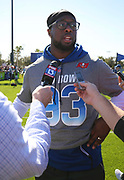 Jan 24, 2018; Kissimmee, FL, USA; Tampa Bay Buccaneers defensive tackle Gerald McCoy (93) talks with reporters after practice for the 2018 Pro Bowl at ESPN Wide World of Sports Complex. (Steve Jacobson/Image of Sport)