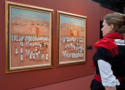 © Licensed to London News Pictures. 19/01/2012. London, U.K..Preview of exhibition Meetings in Marrakech: the paintings of Hassan El Glaoui and Winston Churchill. The exhibition runs between 20 January – 31 March. IT is the first time the paintings of Winston Churchill have been exhibited with another artist Leighton House Museum. Painting by Hassan El Glaoui, titled 'Preperation a la ceremonie de la Baia'a - diptique' , 1990..Photo credit : Rich Bowen/LNP