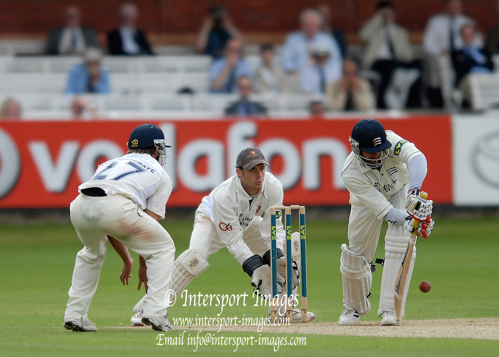 London, GREAT BRITAIN, Owais SHAH, cuts tha ball down during the  2nd innings of the Liverpool Victoria Div 2 County championship match between  Middlesex vs Essex, at Lord's Cricket Ground, England on the 3rd days play  Sun 17.06.2007  [Photo, Peter Spurrier/Intersport-images].....