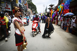August 8, 2017 - Kathmandu, Nepal - A reveler dressed in traditional attire taking part in celebrations during their pride parade of LGBT community (lesbian, gay, bisexual and transgender) organized by Blue Diamond Society in Kathmandu. Hundreds gathered and attended the parade to display their presence on behalf of equality in the society. (Credit Image: © Skanda Gautam via ZUMA Wire)