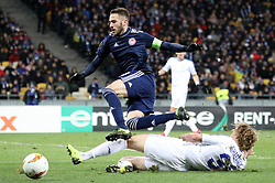 February 21, 2019 - Kiev, Ukraine - Olympiakos' Kostas Fortounis, in the center, in the fight for the ball during the second leg of the Europa League football match of the 32nd stage between Dynamo Kiev and Olympiacos at the Olympic Stadium in Kiev. Ukraine, Thursday, February 21, 2019  (Credit Image: © Danil Shamkin/NurPhoto via ZUMA Press)
