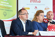 Warsaw, Poland - 2016 November 25: (L-R) Grzegorz Bachanski (President of Polish Basketball Association) and Joanna Styczen - Lasocka (National General Director of Special Olympics Poland) and Miroslaw Krogulec (director sport's department of Special Olympics Europe/Eurasia) while Special Olympics Basketball Press Conference at Marriott Champions Sport Bar on November 25, 2016 in Warsaw, Poland.<br /> <br /> Adam Nurkiewicz declares that he has no rights to the image of people at the photographs of his authorship.<br /> <br /> Picture also available in RAW (NEF) or TIFF format on special request.<br /> <br /> Any editorial, commercial or promotional use requires written permission from the author of image.<br /> <br /> Image can be used in the press when the method of use and the signature does not hurt people on the picture.<br /> <br /> Mandatory credit:<br /> Photo by © Adam Nurkiewicz / Mediasport