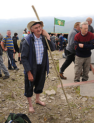 Attending mass on the summit of Croagh Patrick Pat Boyhan from Collinstown Westmeath at the Annual pilgrimage to Croagh Patrick <br /> Pic Conor McKeown