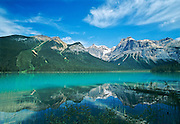 Rocky Mountains reflected in Emerald Lake<br /> Yoho National Park<br /> British Columbia<br /> Canada