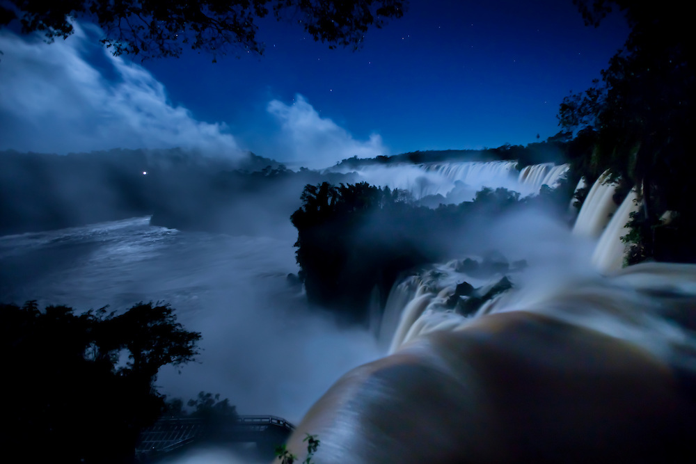 View by full moonlight of Iguazú Falls, Iguazú National Park, Argentina, South America
