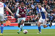 Aston Villa Midfielder, Leandro Bacuna (7) and Blackburn Rovers Midfielder, Danny Guthrie (23)  during the EFL Sky Bet Championship match between Blackburn Rovers and Aston Villa at Ewood Park, Blackburn, England on 29 April 2017. Photo by Mark Pollitt.