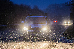 © Licensed to London News Pictures. 06/02/2018. Ingleton UK. Drivers make their way through the snow this morning in the village of Ingleton in the Yorkshire Dales. Photo credit: Andrew McCaren/LNP