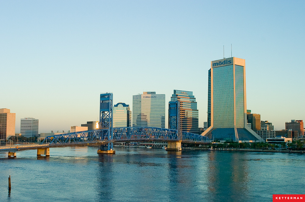 A view of downtown Jacksonville, Florida from the south bank of the St. John's River.