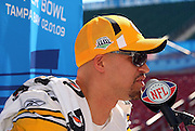 TAMPA, FL - JANUARY 27: Linebacker James Farrior #51 of the AFC Pittsburgh Steelers speaks to the media during Super Bowl XLIII Media Day at Raymond James Stadium on January 27, 2009 in Tampa, Florida. ©Paul Anthony Spinelli *** Local Caption *** James Farrior
