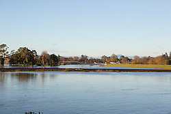 The flood levee at Longford holds back the June 2016 flood.  The present levee was built in 2006.