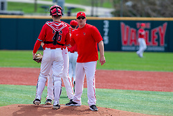 NORMAL, IL - April 08: meeting on the mound with Steve Holm during a college baseball game between the ISU Redbirds  and the Missouri State Bears on April 08 2019 at Duffy Bass Field in Normal, IL. (Photo by Alan Look)