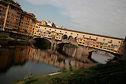 Ponte Vecchio, looking up river at the bridge, Florence, Italy, Florence, Italy