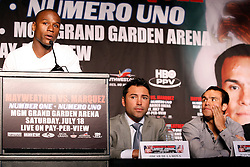 May 19, 2009; New York, NY, USA; Floyd Mayweather Jr. speaks at the press conference announcing his upcoming fight against Juan Manuel Marquez.  The two will meet on July 18, 2009 at the MGM Grand Garden Arena in Las Vegas, NV.