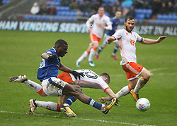 Temitope Obadeyi of Oldham Athletic has a shot at goal - Mandatory by-line: Jack Phillips/JMP - 02/04/2018 - FOOTBALL - Sportsdirect.com Park - Oldham, England - Oldham Athletic v Blackpool - Football League One