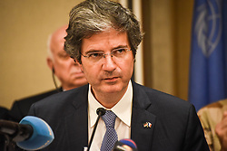 March 24, 2019 - Bamako, Mali - Press conference of the UN Security Council delegation visiting Mali. (Credit Image: © Nicolas Remene/Le Pictorium Agency via ZUMA Press)