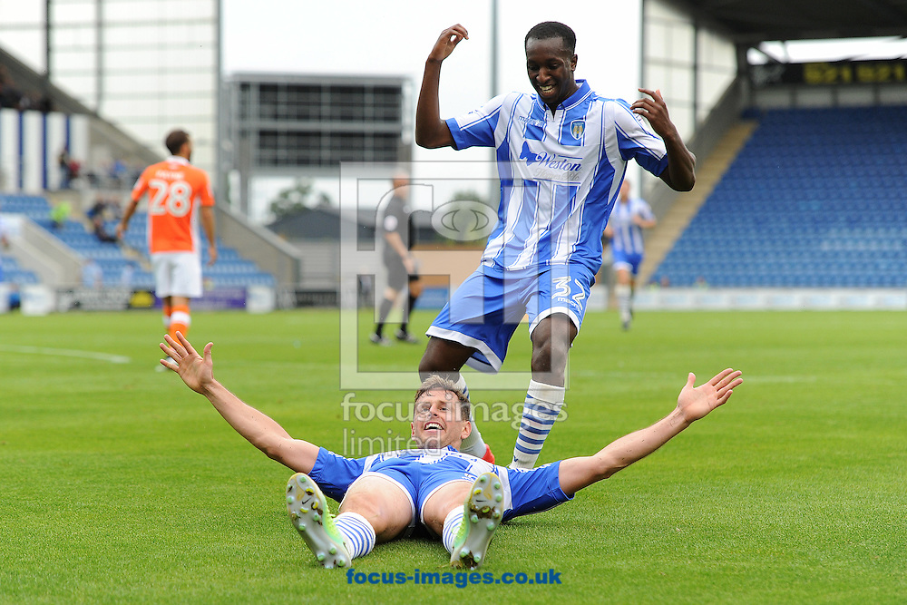 Chris Porter of Colchester United celebrates scoring his sides third goal to make the scoreline 3-1 during the Sky Bet League 2 match between Colchester United and Blackpool at the Weston Homes Community Stadium, Colchester<br /> Picture by Richard Blaxall/Focus Images Ltd +44 7853 364624<br /> 10/09/2016