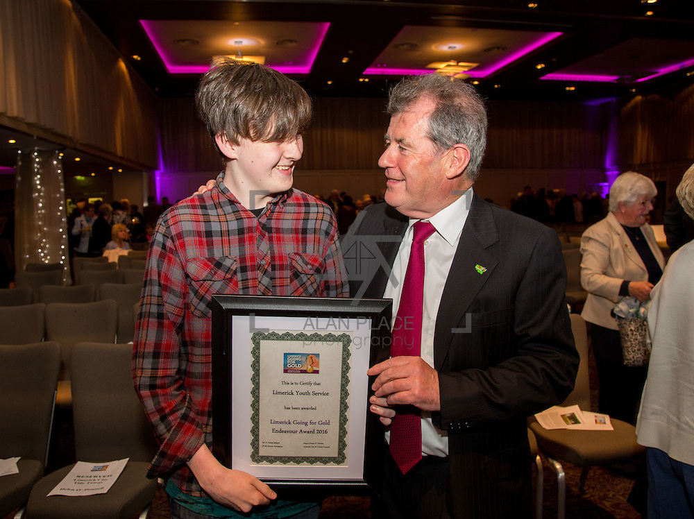 11.10.2016         <br /> The West of Limerick is awake and celebrating after Glin was announced as overall winner of Limerick Going for Gold 2016.<br /> Pictured are Keith Allen, Limerick Youth Service and JP McManus. Limerick Youth Services received an Endeavour Award. Picture: Alan Place