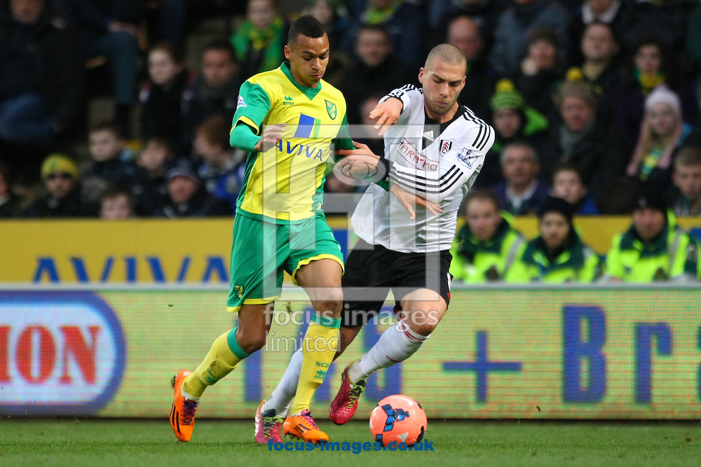 Picture by Paul Chesterton/Focus Images Ltd +44 7904 640267<br /> 04/01/2014<br /> Josh Murphy of Norwich and Patjim Kasami of Fulham in action during The FA Cup match at Carrow Road, Norwich.