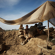 January 19, 2013 - Markala, Mali: French Army men take defensive position in the outskirts of Markala, in preparation for an advance towards the northern city of Diabaly, under siege by islamist militants since the 14th of January.<br />
