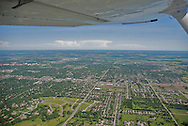 aerial image of Lawrence, KS, looking east