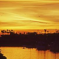 Sunset in the Santa Barbara Yacht Club Harbor