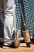 LOS ANGELES, CA - JULY 15:  A San Diego Padres player waits to bat at batting practice before the game against the Los Angeles Dodgers on Sunday, July 15, 2012 at Dodger Stadium in Los Angeles, California. The Padres won the game 7-2. (Photo by Paul Spinelli/MLB Photos via Getty Images)