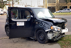 07 March 2014. New Orleans, Louisiana. <br /> Student driver meets with an accident. <br /> Photo; Charlie Varley/varleypix.com