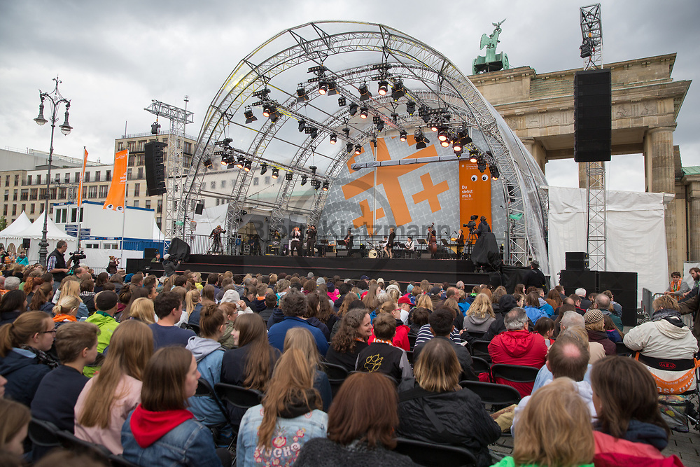 Berlin, Germany - 24.05.2017<br /> <br /> Concerts at the Brandenburg Gate. Start of the German Protestant Church Assembly (&quot;Deutscher Evangelischer Kirchentag&rdquo;) in Berlin. Tens of thousands attend the ceremonies and concerts at the beginning of the church convention. <br /> <br /> Konzerte am Brandenburger Tor. Start des Deutschen Evangelischer Kirchentags 2017 in Berlin. Zehntausende besuchen die Zeremonien und Konzerte zum Auftakt des Kirchentags<br /> <br />  Photo: Bjoern Kietzmann