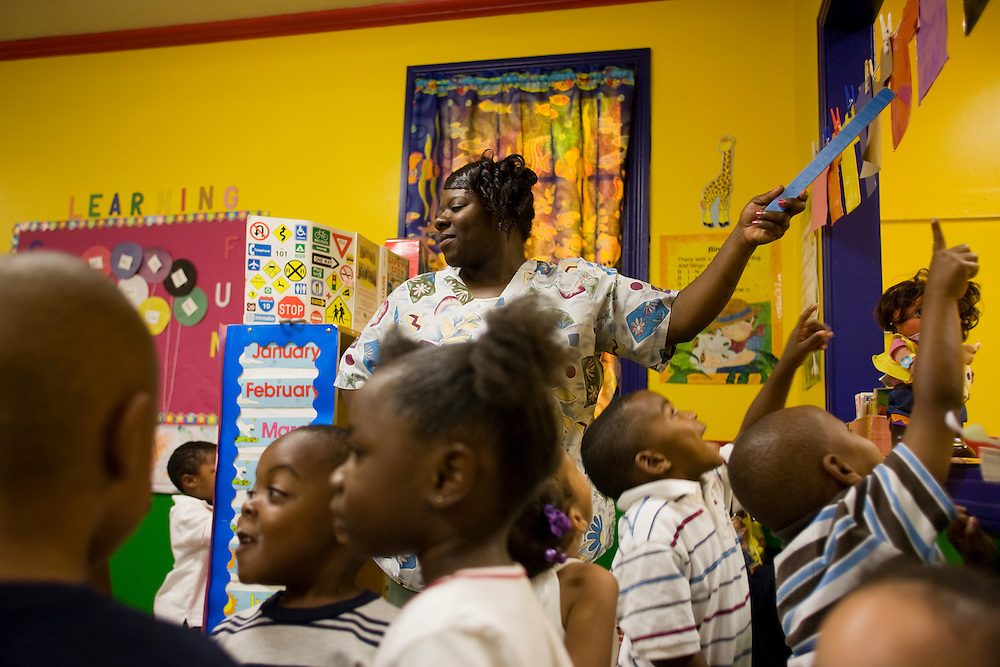 Ms. Katherine Clark leads children under her care in a lesson about color at the New Covenant House Christian Daycare Center in Clarksdale, Miss., May 15, 2007.<br /> Photo by D.L. Anderson