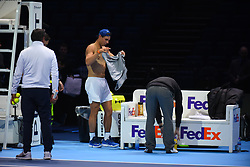 November 10, 2017 - London, England, United Kingdom - Rafael Nadal of Spain changes his t-shirt before a training session prior to the Nitto ATP World Tour Finals at O2 Arena, London on November 10, 2017. (Credit Image: © Alberto Pezzali/NurPhoto via ZUMA Press)
