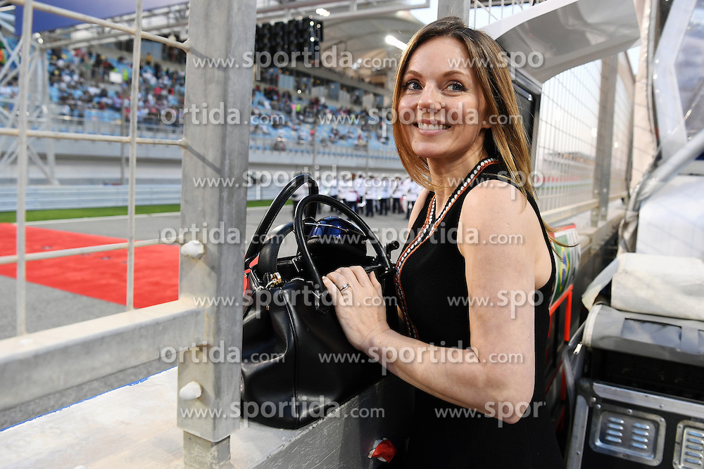 03.04.2016, International Circuit, Sakhir, BHR, FIA, Formel 1, Grand Prix von Bahrain, Rennen, im Bild Geri Halliwell (GBR) on the grid // during Race for the FIA Formula One Grand Prix of Bahrain at the International Circuit in Sakhir, Bahrain on 2016/04/03. EXPA Pictures &copy; 2016, PhotoCredit: EXPA/ Sutton Images<br /> <br /> *****ATTENTION - for AUT, SLO, CRO, SRB, BIH, MAZ only*****