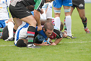 Twickenham. Great Britain, Quins,Ollie KOHN, touches down for a first half try, during the European Challenge Cup, match between, NEC Harlequins and Montpellier, on Sat., 28/10/2006, played at the Twickenham Stoop, England. Photo, Peter Spurrier/Intersport-images]......