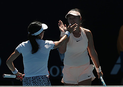 MELBOURNE, Jan. 18, 2018  Yang Zhaoxuan (R) of China and Aoyama Shuko of Japan celebrate during the women's doubles first round match against Taylor Townsend of the U.S. and Renata Voracova of the Czech Republic at Australian Open 2018 in Melbourne, Australia, Jan. 18, 2018. Yang Zhaoxuan and Aoyama Shuko won 2-0. (Credit Image: © Bai Xuefei/Xinhua via ZUMA Wire)
