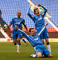 Photo. Jed Wee.<br /> Wigan Athletic v Crystal Palace, Nationwide League Division One, JJB Stadium, Wigan. 01/11/03.<br /> Wigan celebrate Andy Liddell's (C) goal, with Jason Jarrett (L) and Jimmy Bullard.