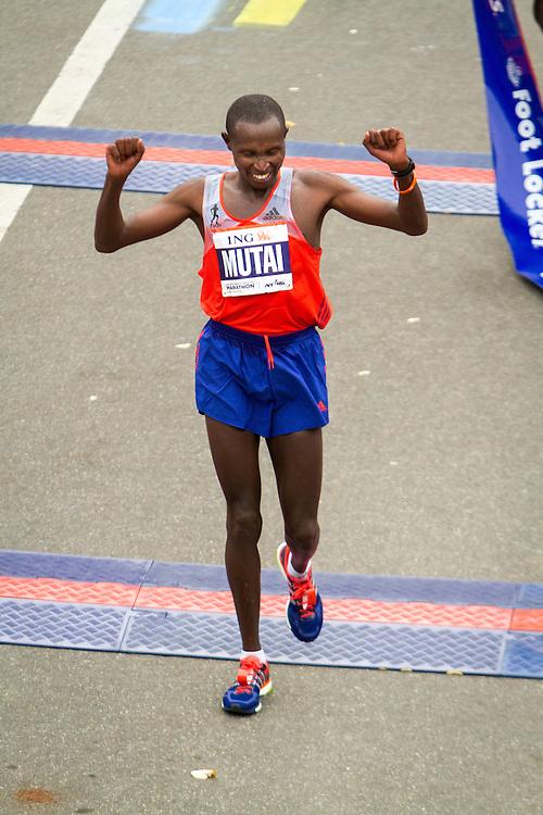 ING New York CIty Marathon: Geoffrey Mutai, Kenya, celebrates winning race