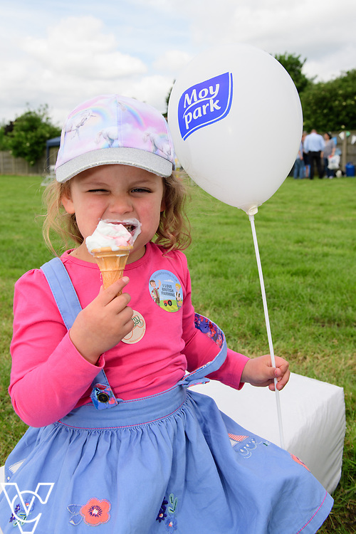 As part of Open Farm Sunday, May Park's Barr Farm in Billinghay, Lincolnshire, was open to the public.  Pictured is Freya Houghton (four) enjoying an ice cream.<br /> <br /> PIcture: Chris Vaughan Photography<br /> Date: May 21, 2017