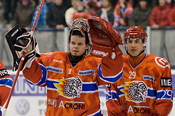 Jaakko Soumalainen (HK Acroni Jesenice, #1) and Aleksandar Magovac (HK Acroni Jesenice, #29) during ice-hockey match between HK Acroni Jesenice and HDD Tilia Olimpija in 33rd Round of EBEL league, on Januar 1, 2011 at Dvorana Podmezaklja, Jesenice, Slovenia. (Photo By Matic Klansek Velej / Sportida.com)