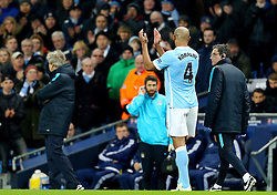Vincent Kompany of Manchester City leaves the field with an injury  - Mandatory byline: Matt McNulty/JMP - 15/03/2016 - FOOTBALL - Etihad Stadium - Manchester, England - Manchester City v Dynamo Kyiv - Champions League - Round of 16