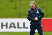 England manager Roy Hodgson looks on at his players during the England Training Session at St George's Park National Football Centre, Burton-Upon-Trent, United Kingdom on 7 October 2015. Photo by Aaron Lupton.