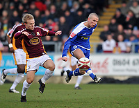 Photo: Tony Oudot/Richard Lane Photography. Northampton Town v Leicester City. Coca-Cola Football League One. 31/01/2008. <br /> Tom Cleverley of Leicester with Danny Jackman of Northampton