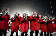 MADISON, WISCONSIN -NOV. 15, 2014: The University of Wisconsin Band performs for the fifth quarter after the football team defeated the University of Nebraska Huskers at Camp Randall Stadium in Madison, WI, Sat. Nov. 15, 2014. Lauren Justice for The New York Times