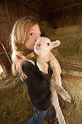 9 year old Shenoa Epp holds a three day old lamb on a Sauvie Island farm, Oregon. Model and property released.