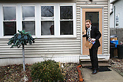 Holyoke, MA, Mayor Alex Morse canvassing his neighborhood for Hillary Clinton Monday, Feb. 29, 2016.  CREDIT: Cheryl Senter for The New York Times