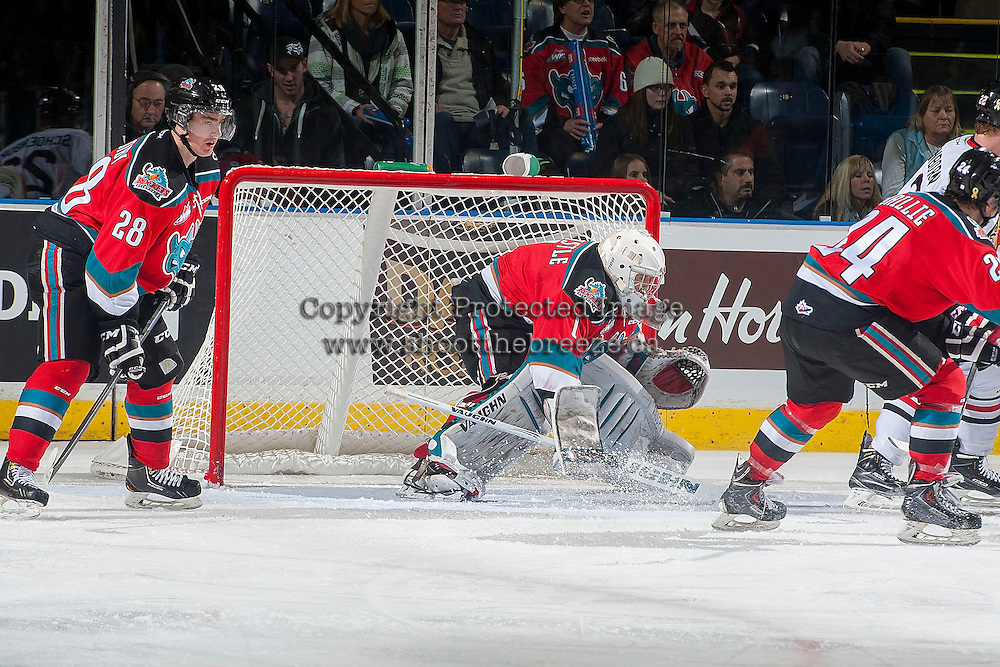 KELOWNA, CANADA - NOVEMBER 21: Jackson Whistle #1 of Kelowna Rockets defends the net against the Portland Winterhawks on November 21, 2014 at Prospera Place in Kelowna, British Columbia, Canada.  (Photo by Marissa Baecker/Shoot the Breeze)  *** Local Caption *** Jackson Whistle;