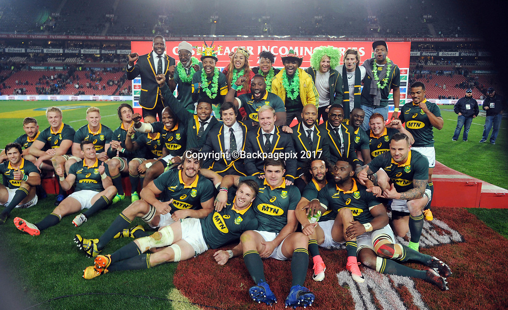 South Africa celebrates  during the 2017 International Incoming Series rugby match between SA and France on 24 June 2017 at Ellis Park Stadium   © Sydney Mahlangu /BackpagePix