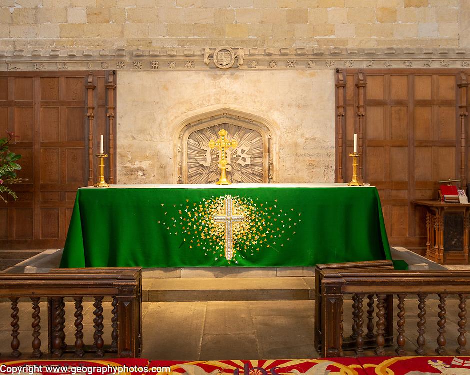 Green cloth on altar in sanctuary inside the abbey church Malmesbury, Wiltshire, England, Uk